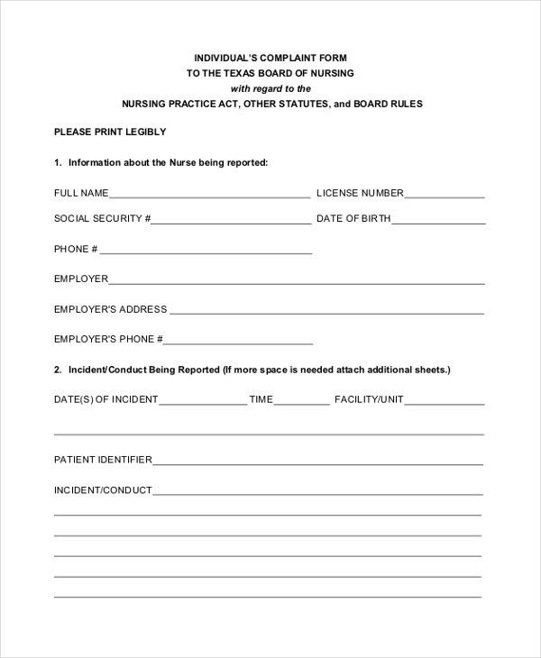 Patient Incident Report Form Sample Incident Report Form - sample patient complaint form
