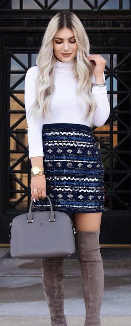 white and blue long-sleeved dress