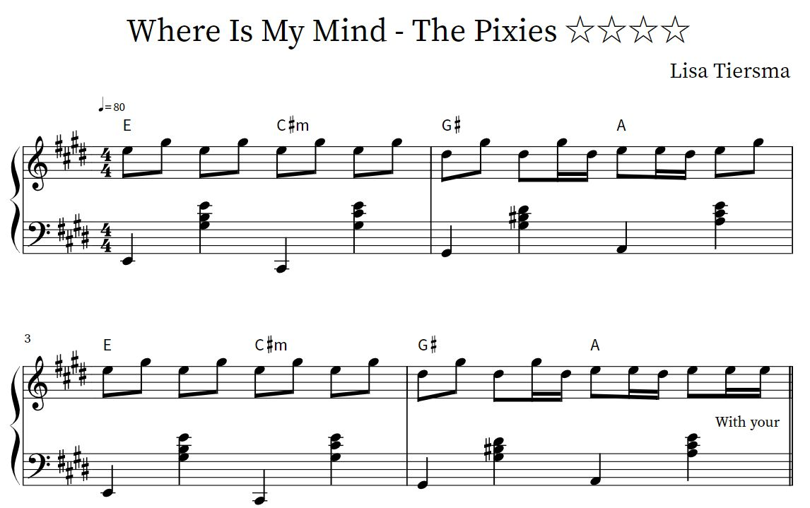 piano sheet music: 🐟 pixies — where is my mind piano sheet music  piano sheet music
