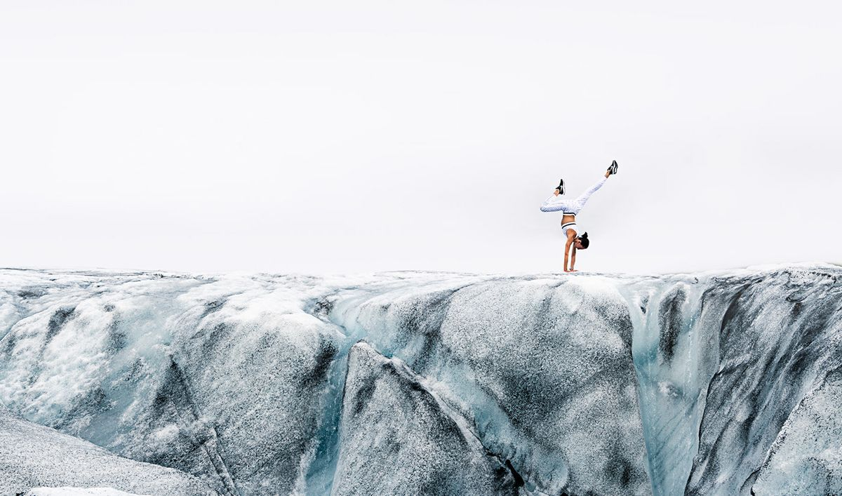 Athletic shoot at Icelandic glacier by Will Graham.