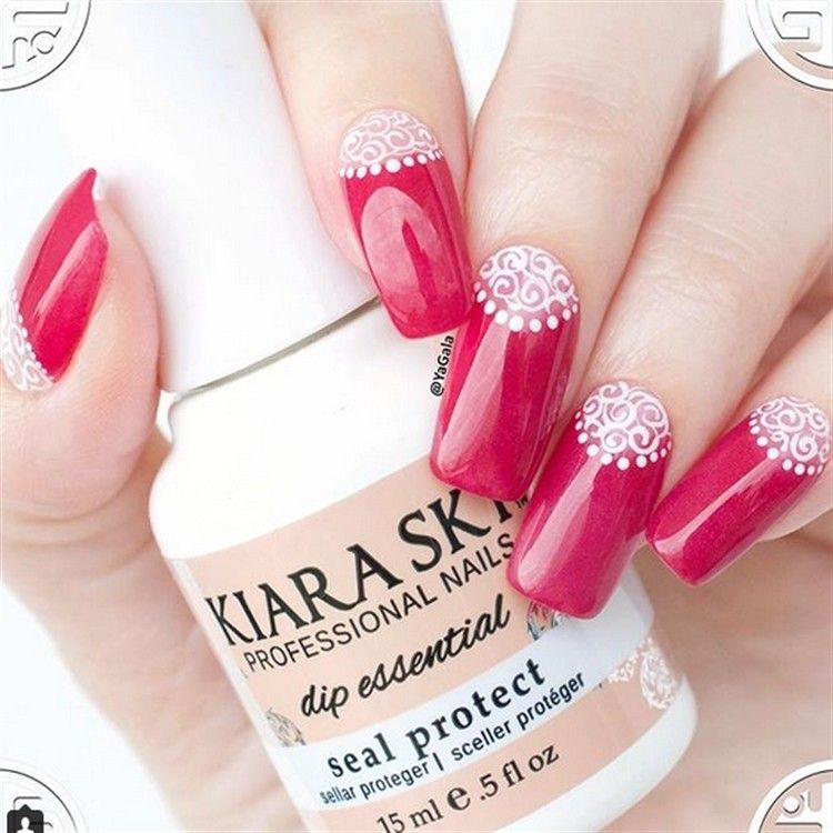 top 30 Extremely Cute Half-moon nail art You Must Try – Fashonails #nail_art_designs #trendy_nails #half_moon_nails