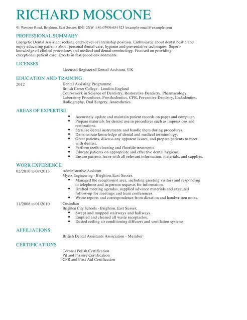 Dentist Resume Sample 6 dentist resume templates affidavit letter - resume examples for dental assistant