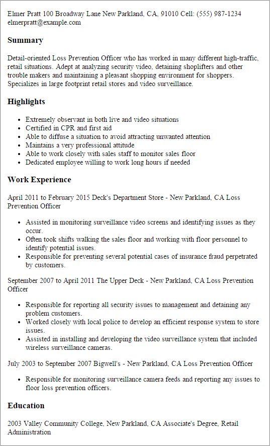 surveillance officer sample resume node2003-cvresumepaasprovider - surveillance agent sample resume