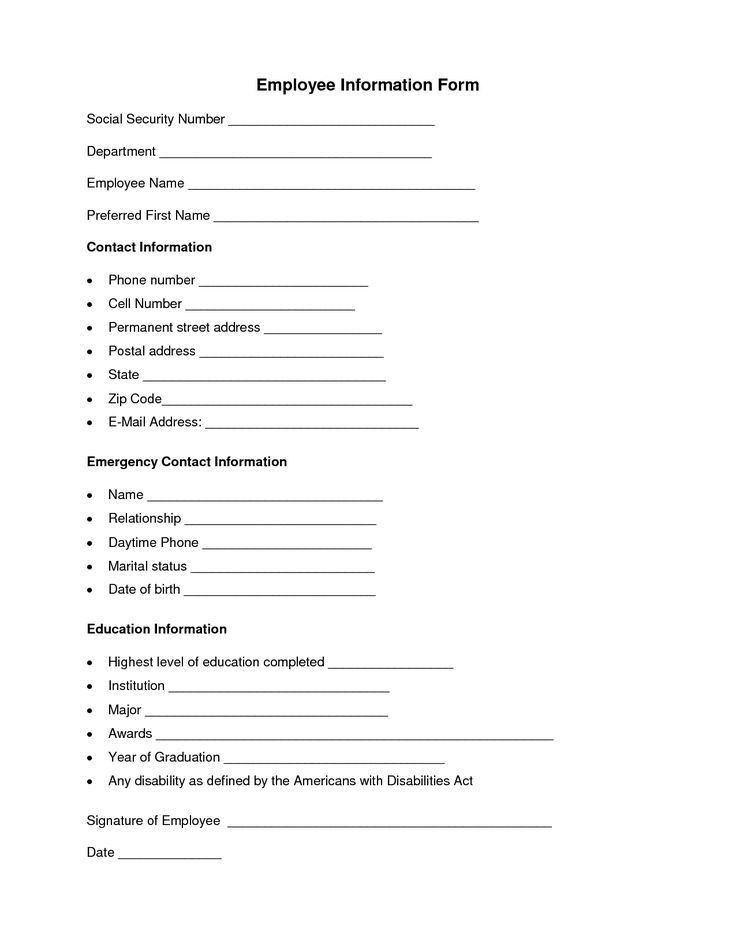 Employee Contact Information Template Formal Contact List - contact information form