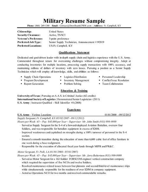 Sample Military Resume Military Resume Example Sample Military - resume for military