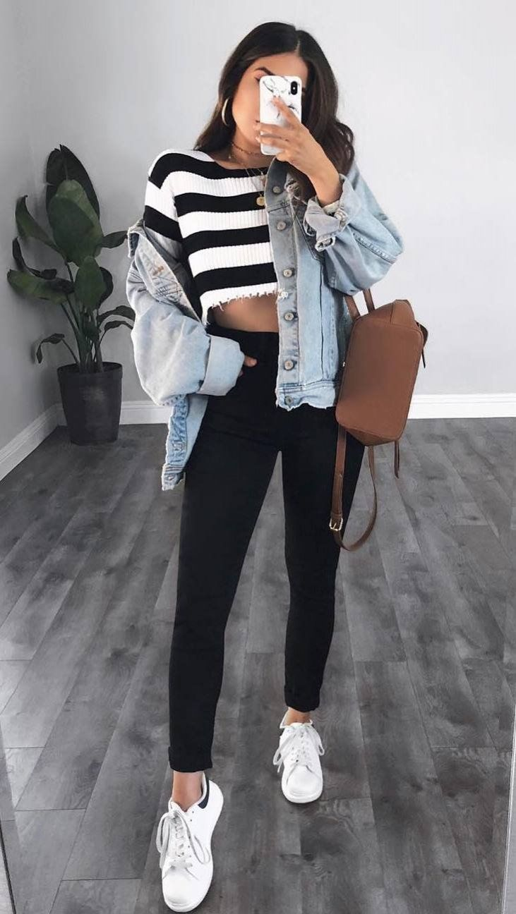 outfit of the day | striped sweater denim jacket brown backpack black pants sneakers