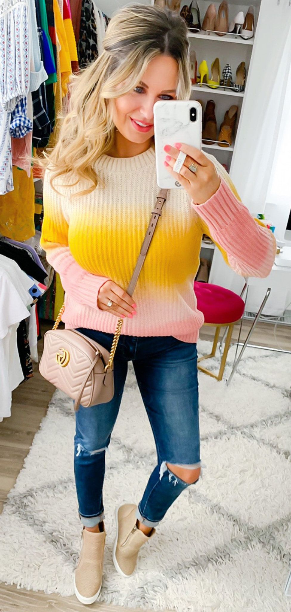 white and pink sweater #spring #outfits