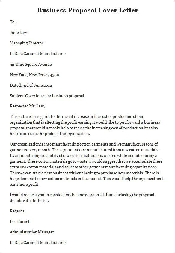Cover Letter For Business Proposal Sample Sample Business - proposal cover page template