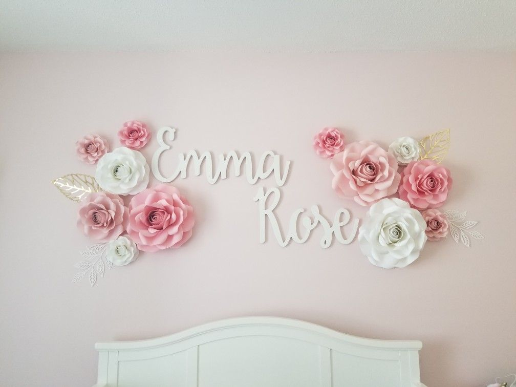 Paper Flowers With Name Roses Pink And White Nursery We