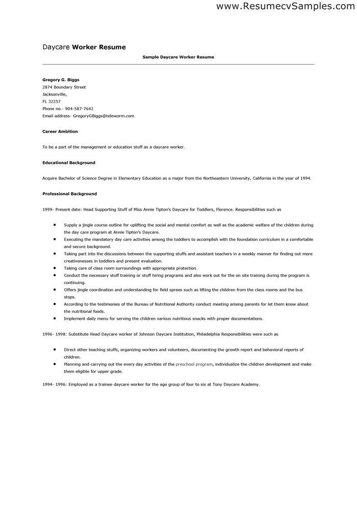 Daycare Assistant Cover Letter Child Care