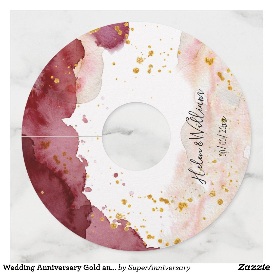 Wedding Gold and Burgundy Wine Glass Tag