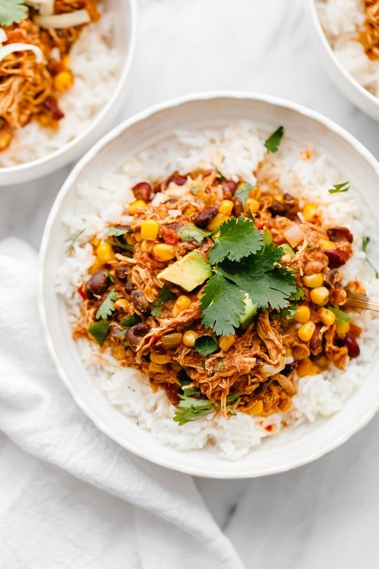 Crock Pot Chicken Taco Chili is an easy slow cooker dump recipe using freezer and pantry staples! #slowcooker #crockpot #chickentacochili #skinnytaste