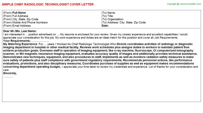cover letter examples for radiologic technologist resume