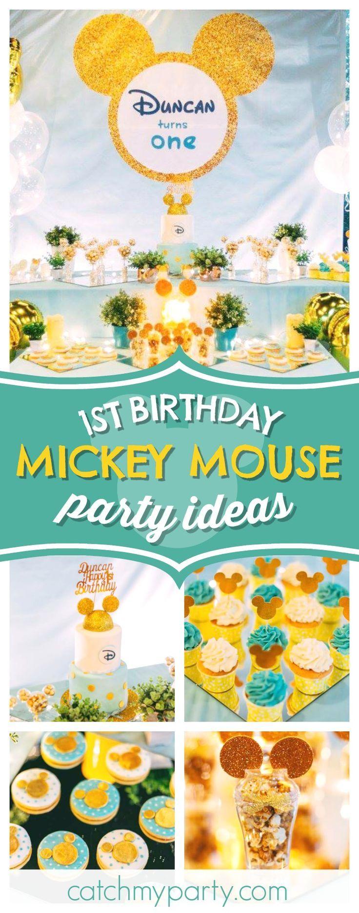 "Gold Mickey / Birthday ""Gold Mickey 1st birthday party""   Catch My Party"