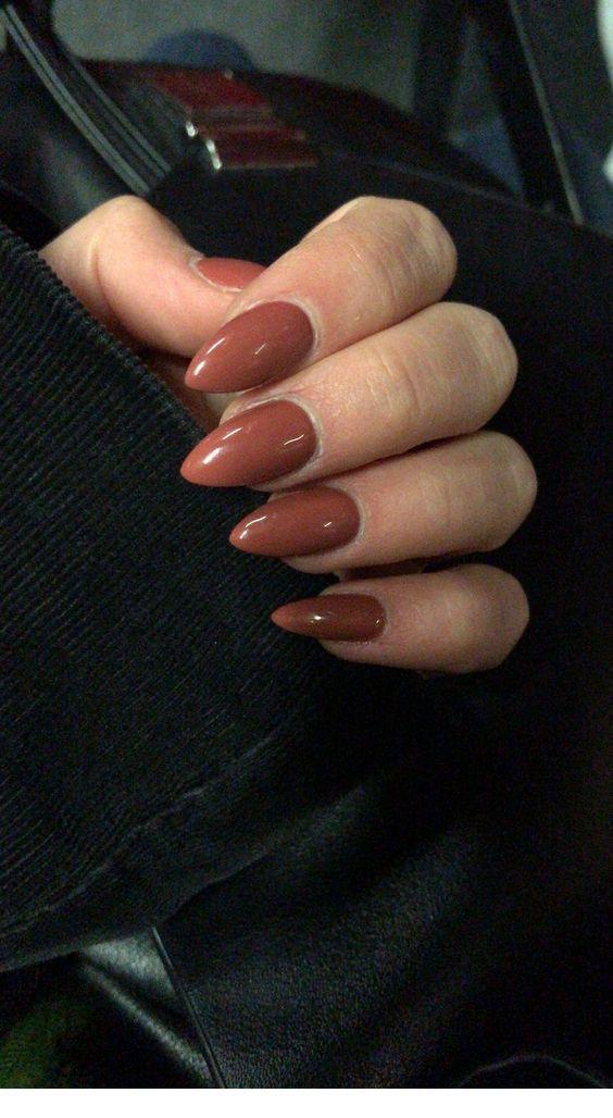 Chic brown stiletto nails