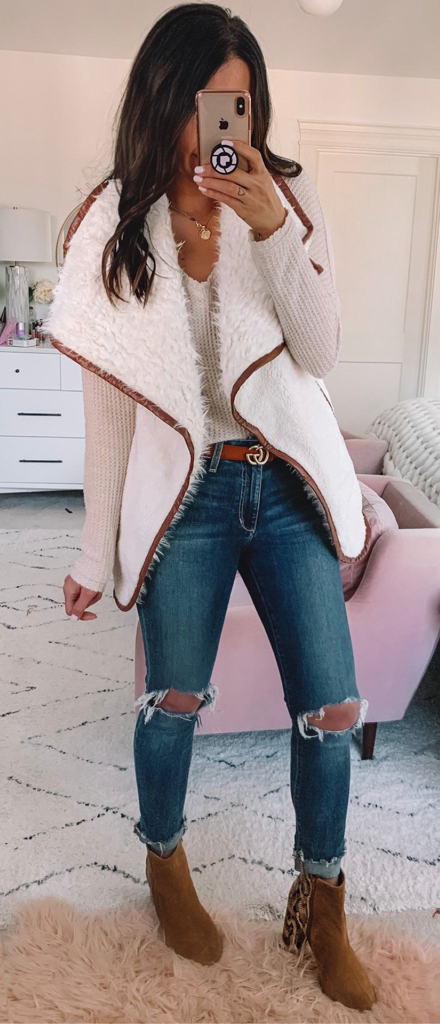 white and beige cardigan