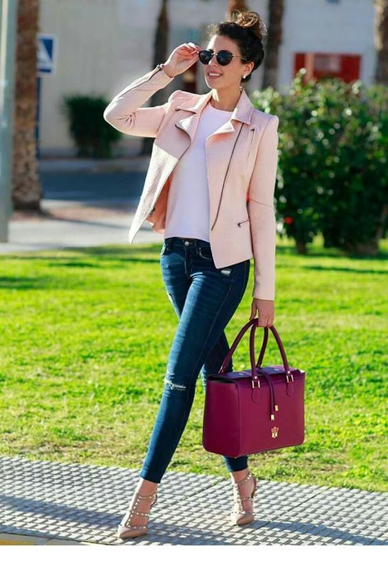 Blue jeans, white top and light pink jacket