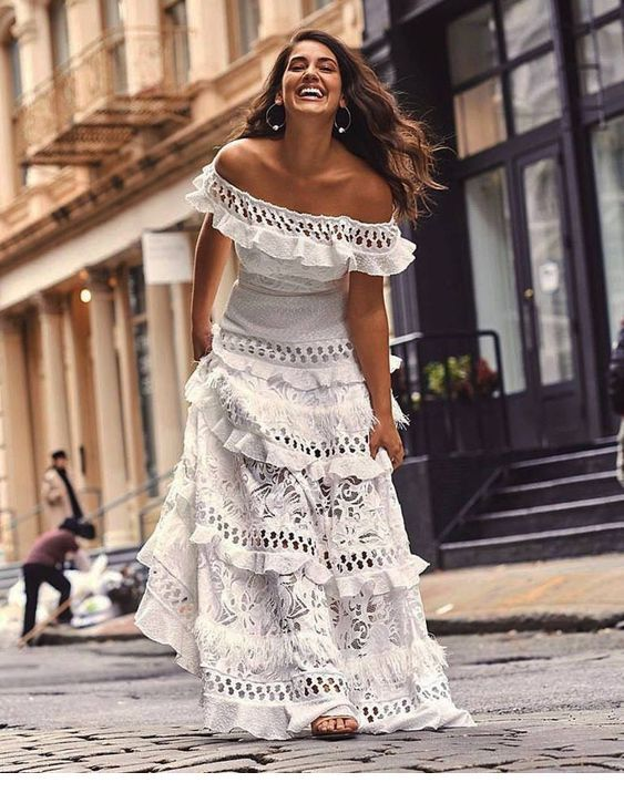 Amazing long boho white dress with lace