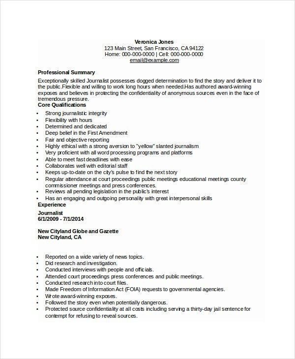Journalism Resume Examples - Examples of Resumes - prison social worker sample resume