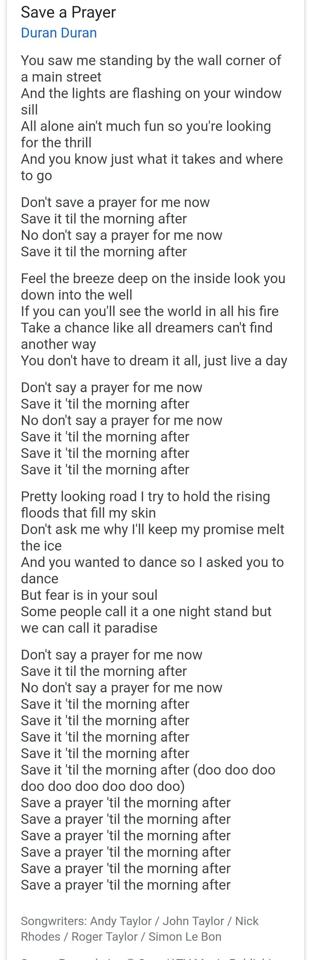 Parole Stand By Me : parole, stand, Prayer, Lyrics, Duran