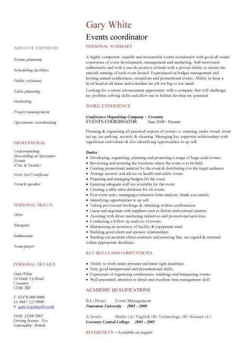 resume for event coordinator – Resume for Event Planner