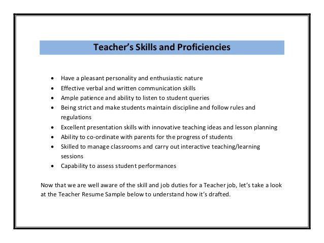 teacher resume skills section