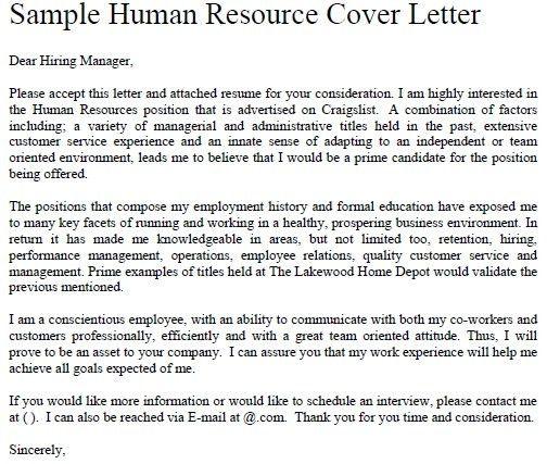 Sample Hr Internship Cover Letter | Cover Letter