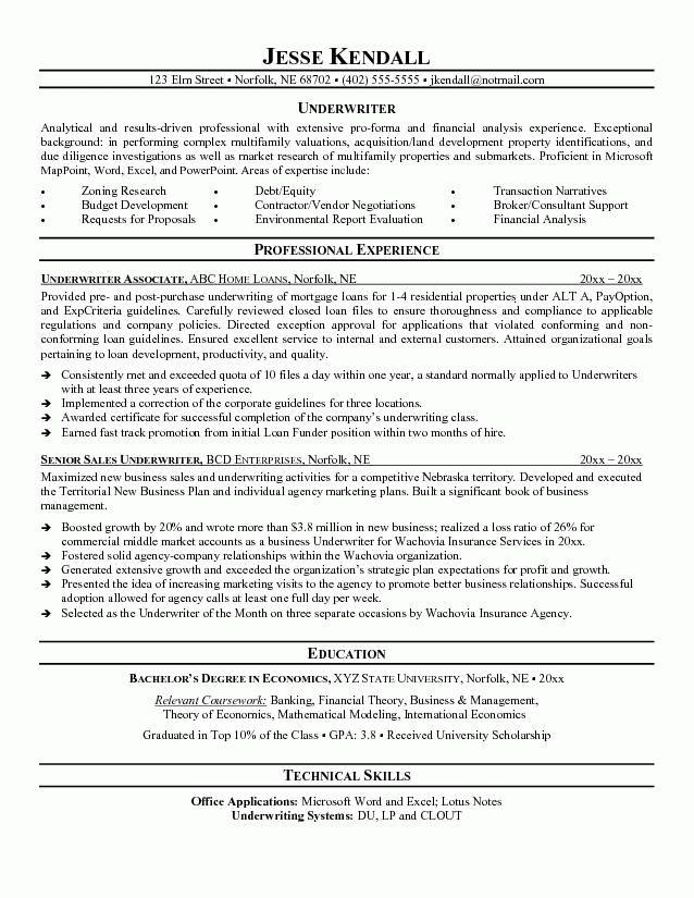98 Underwriting Cover Letter  Underwriting Assistant Resume 9 Underwriter Job Description For