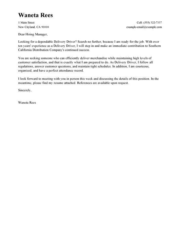 Shuttle driver cover letter