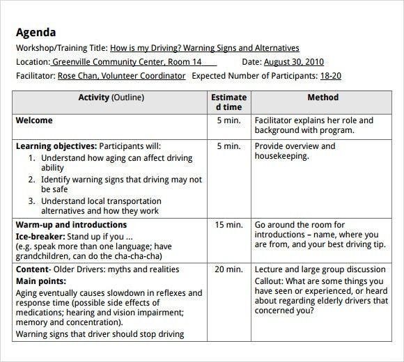 Delightful Training Agenda Sample Riversideinverclyde Co