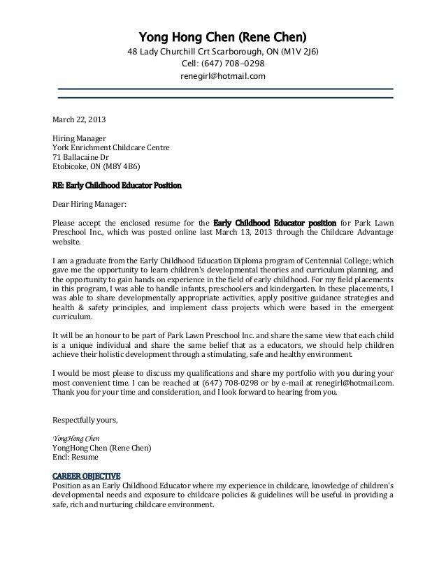 Childcare Cover Letter Example Child Care Director  Child Care Resumes