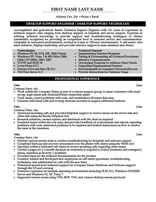 desktop support resume sample