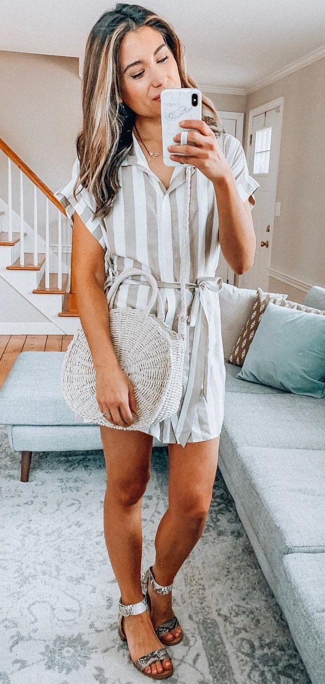 white and gray striped collared mini dress #spring #outfits