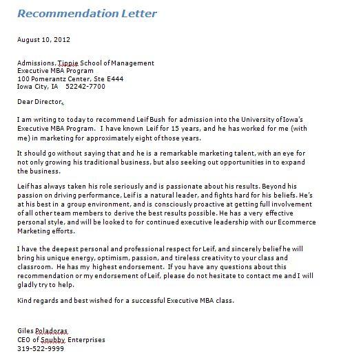Recommendation Letters Templates 21 Recommendation Letter - mba recommendation letter