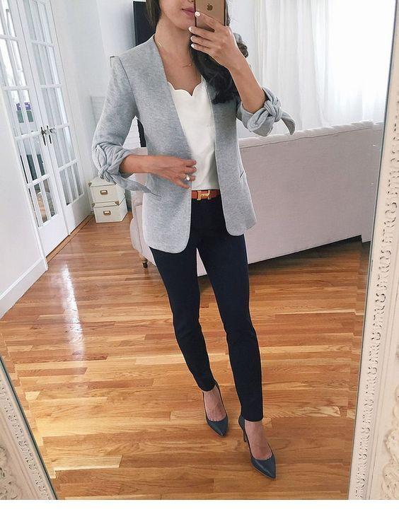 Nice white top with grey blazer