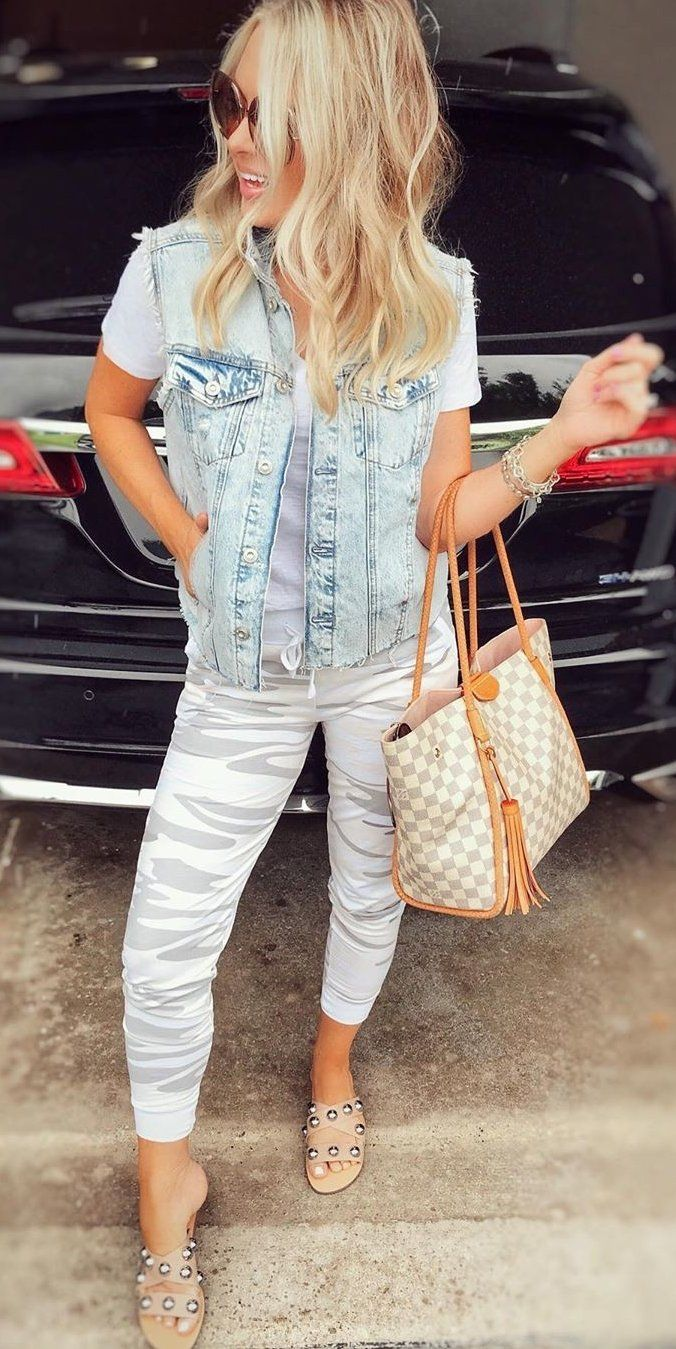 white denim button-up jacket #summer #outfits