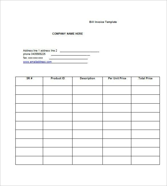 Format For Invoice Bill Billing Invoice Template For Excel - invoice bill