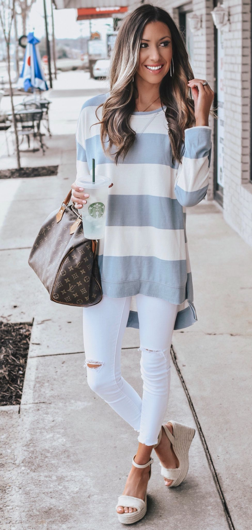 white and grey stripe crew-neck long sleeved shirt #spring #outfits