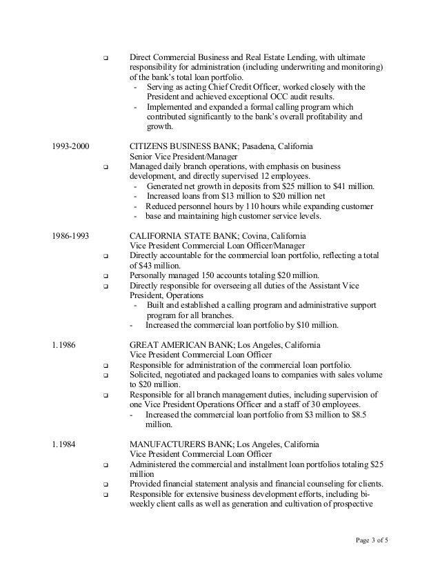 resume for loan officer