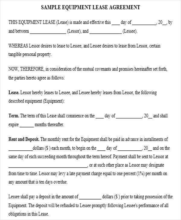 Simple Lease Agreement Sample Simple Lease Agreement 9 Examples - equipment rental agreement sample