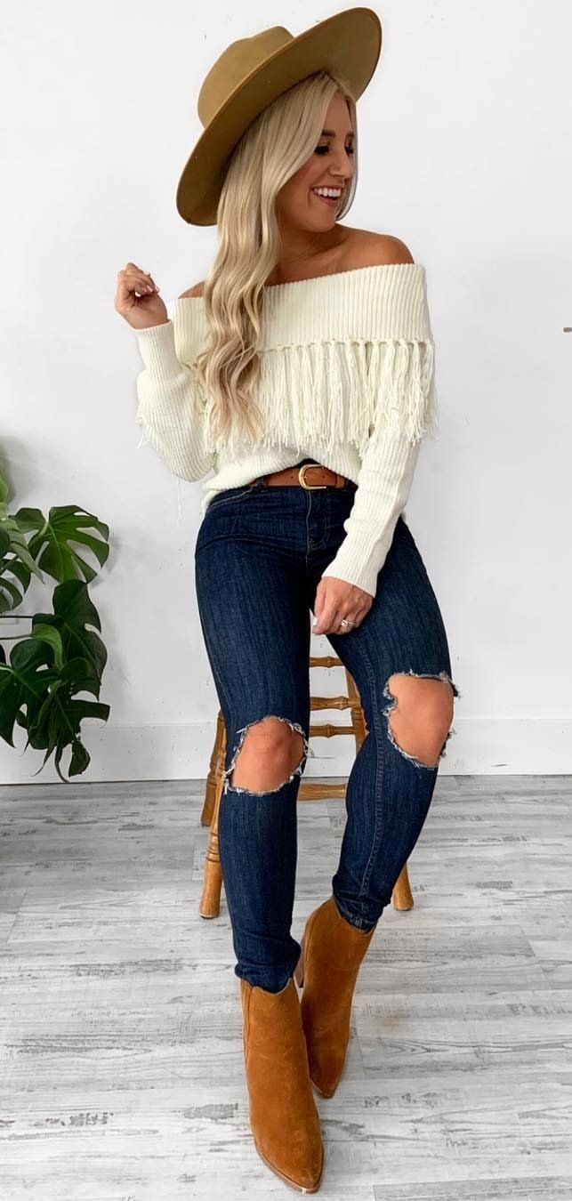 white off-shoulder sweater #spring #outfits