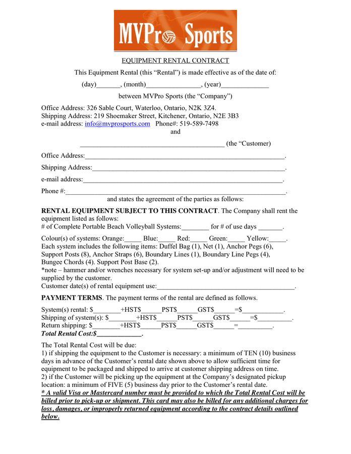 Equipment Rental Contract Sample 12 Equipment Rental Agreement - rent contract templates