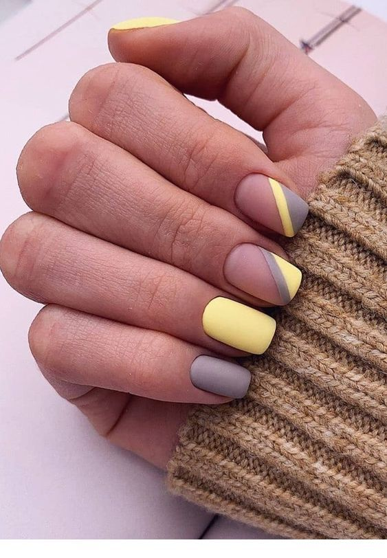 Nice matte yellow and grey nails