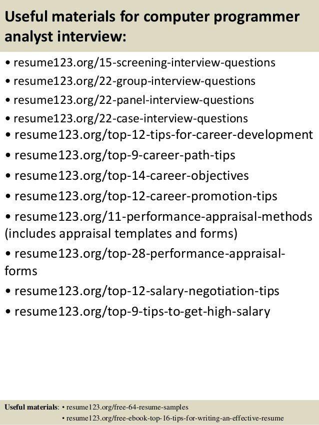 ... Programmer Analyst Resume Sample Senior Programmer Analyst Resume    Programmer Analyst Job Description ...