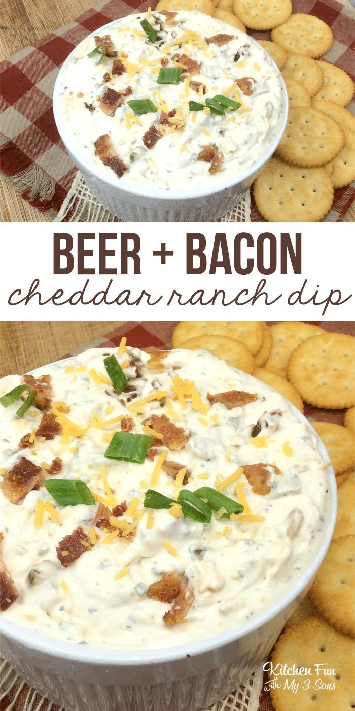 This recipe for Beer Bacon Cheddar Ranch Dip is one of my absolute faves. It's so simple. It's wonderfully rich, creamy and savory. Perfect for the Super Bowl! #recipes #dip #party #partyfood #food #bacon