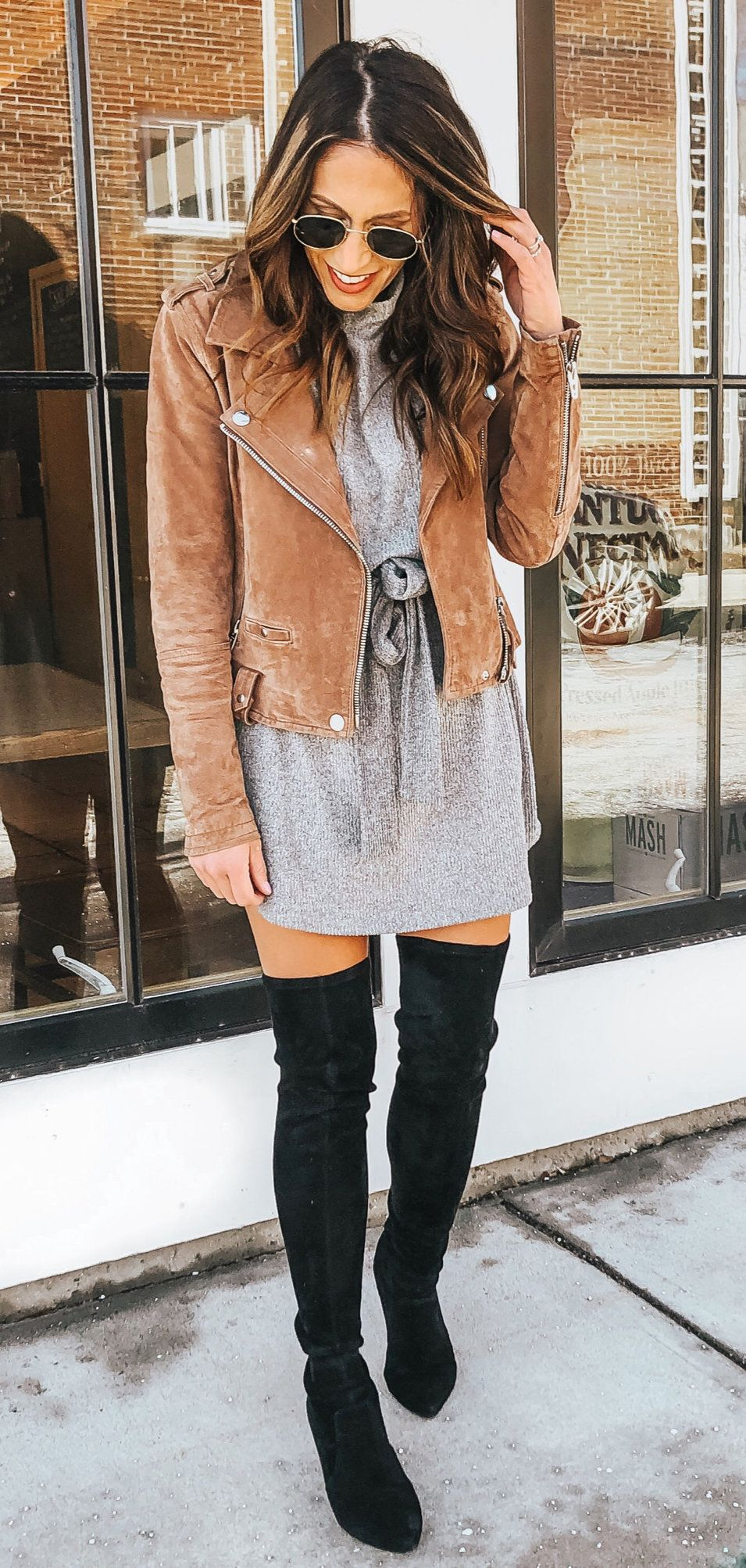 black leather thigh-high boots #spring #outfits