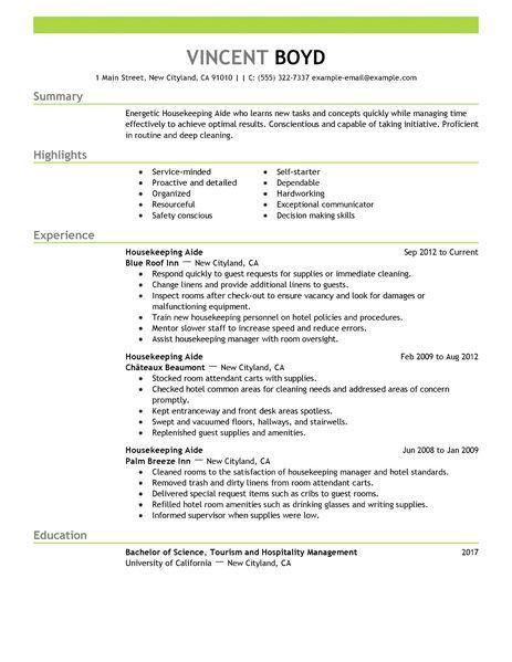 example of housekeeping resumes