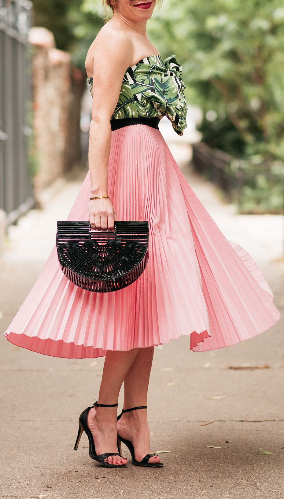 Pink pleated skirt + leaf print tie front top