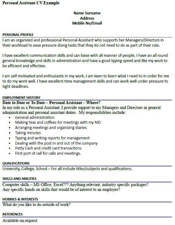 personal assistant sample resume