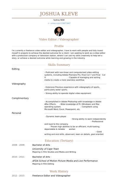 resume for freelance writer